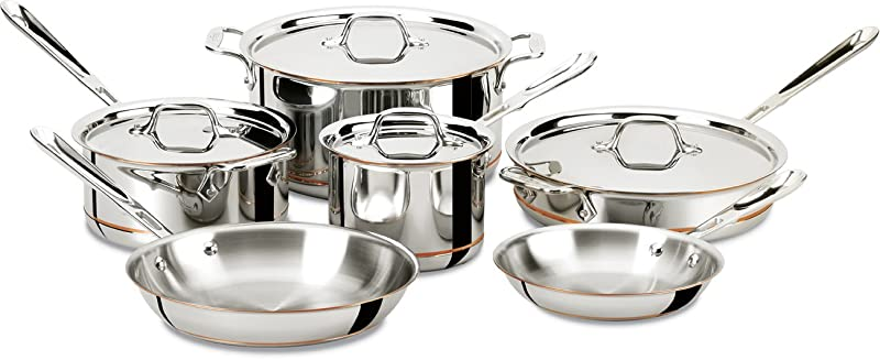 All-Clad-600822-Copper-Core 5-Ply-Bonded-Dishwasher-Safe-Cookware-Set