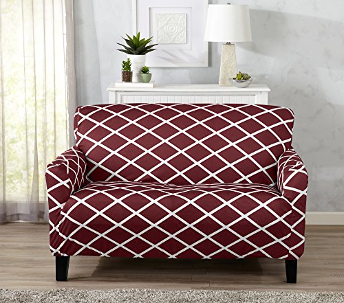 Strapless Stretch Printed Slipcover Loveseat Cover, Stain and Spill Resistant. Tori Collection by Great Bay Home (Love Seat - - Diamond Stretch Slipcover