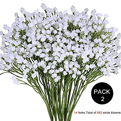 """Supla Pack 2 Baby's Breath Artificial 14 forks,Total of 882 white blooms Babys Breath Bulk Flower Bush Gypsophila Artificial in White -15.7"""" Tall for Wedding Wreath Boutonniere Flower Crown"""