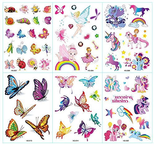 Nutrition Bizz Cute Temporary Tattoos for Boys Kids Teen Women 6 Sheets Princess Unicorn Butterfly Rainbow Gliiter Waterproof Stickers for Arms Shoulders Chest & Back]()