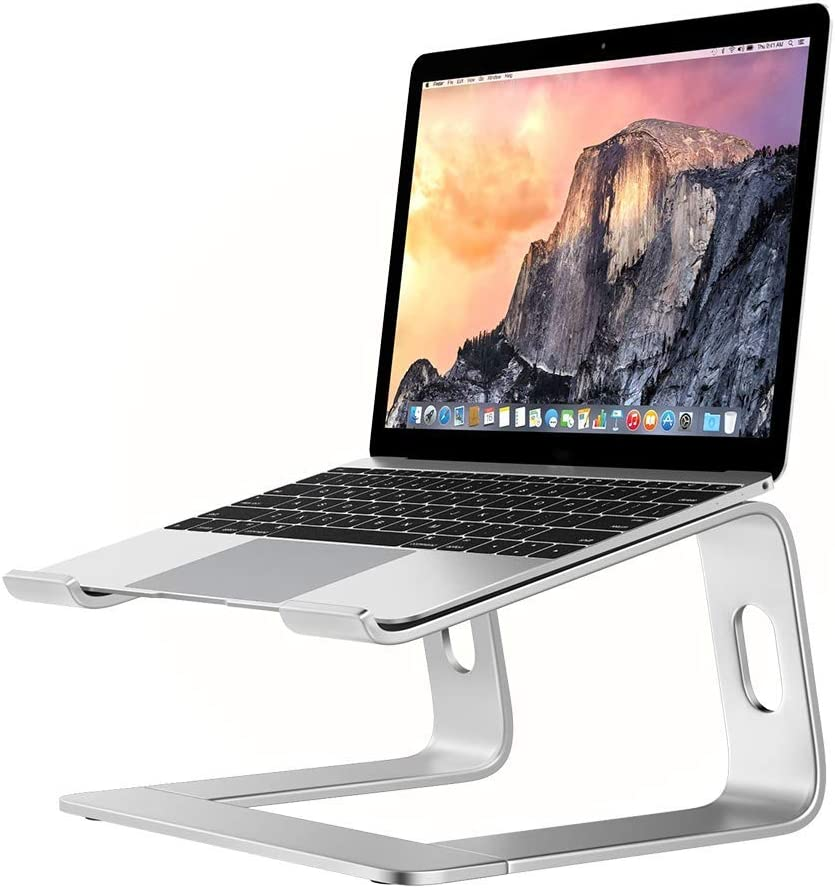 Laptop Stand for Desk Portable Tray Vertical Holder Ergonomic Mac Riser for Bed and Sofa Lap for MacBook Pro Air Netbook Tablet 10 to 17 inch -Silver