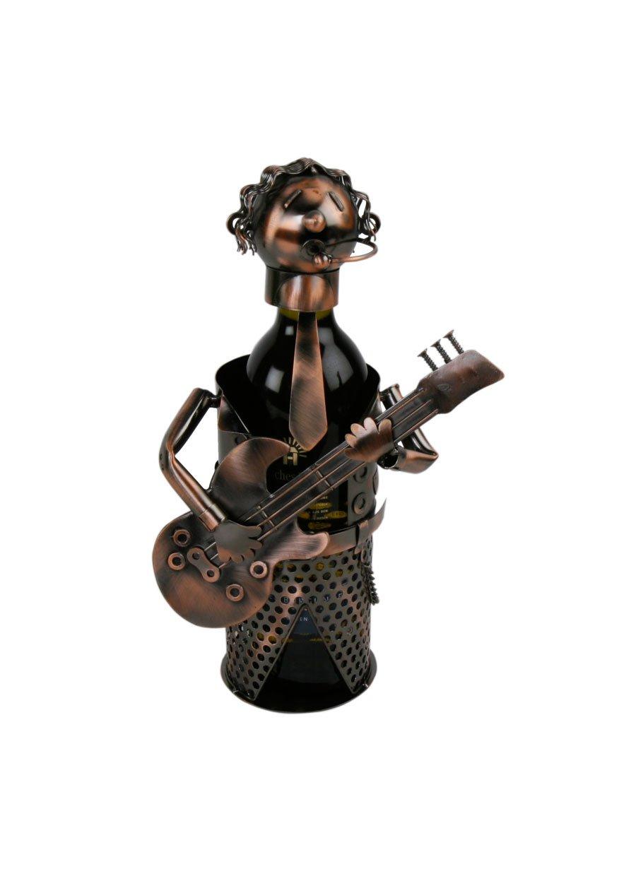 Gitarrenspieler Flaschenhalter Metall bis 42,5 cm Weinflaschenhalter Sekthalter