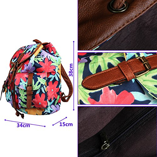 FL1 Retro Xidan Canvas Floral Backpack Bag Travel Printed Rose Shoulder Leisure qZqr5dw