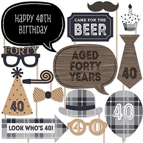 (40th Milestone Birthday - Dashingly Aged to Perfection - Birthday Photo Booth Props Kit - 20)