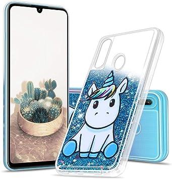 Coque pour Huawei P30 Lite, Anfire Etui Licorne Bleu Housse Liquide Paillette Transparente 3D Silicone Gel TPU Etui Bumper Brillant Glitter Crystal ...