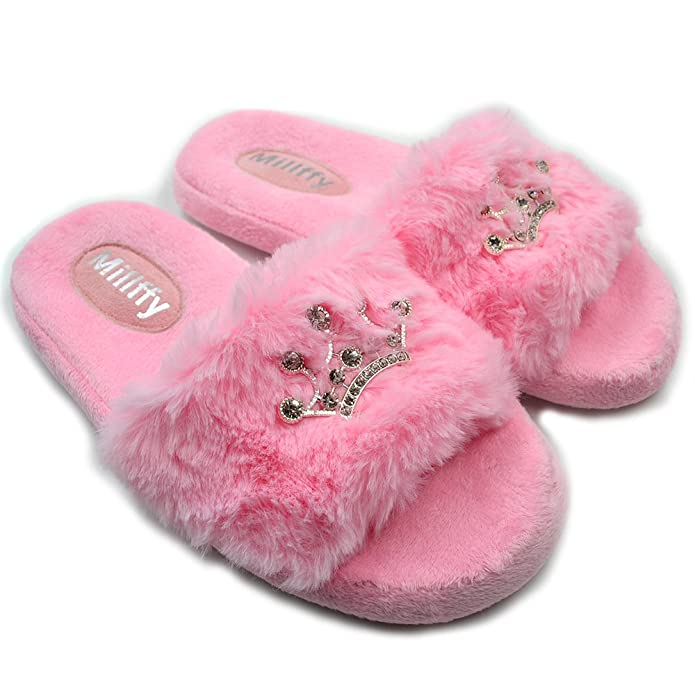 2f4c96f6d Amazon.com  Millffy Plush Fluffy Slippers Princess Crown Bling Bling  Diamond Ladies Shoes Pink Girl Home Slippers  Shoes