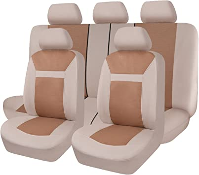 Universal fit Most Car,Truck,SUV and Van Flying Banner 11 PCS Car Seat Covers Full Set Comfortable Composite Sponge Inside Airbag Compatible Jacquard /& Polyester Tan and Beige 016-Style