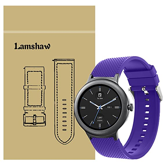 Lamshaw Smartwatch Bands LG Watch Style, New Silicone Sport Band for LG Watch Style Smartwatch (Purple)