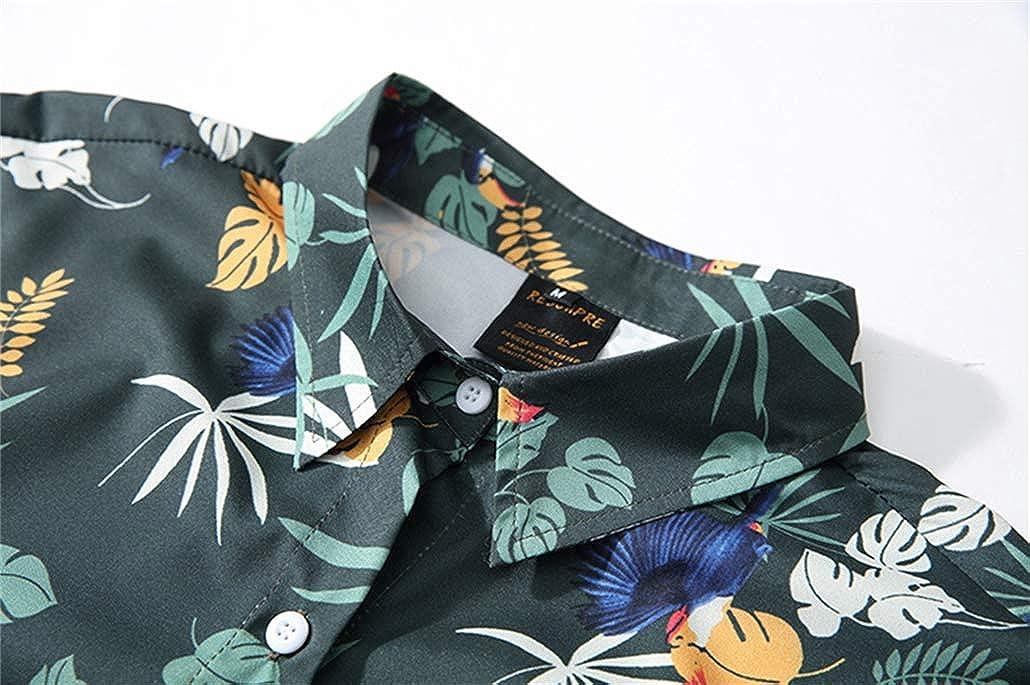 XXJIN Mens Relaxed-Fit 100/% Printed Shirtilk Tropical Tropical Hawaiian Shirt Breathable