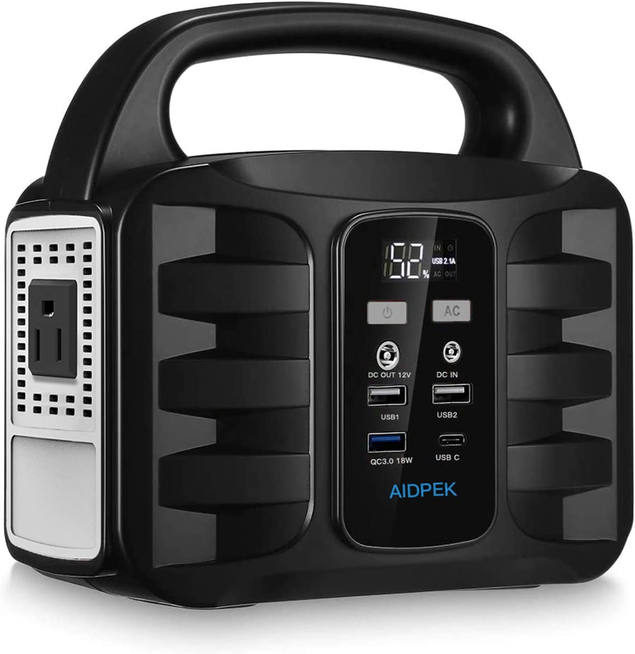 AIDPEK 100W Portable Power Station,155Wh 42000MAH Camping Solar Generators with 2 DC Ports,USB QC3.0, LED Flashlights for CPAP Home Camping Emergency