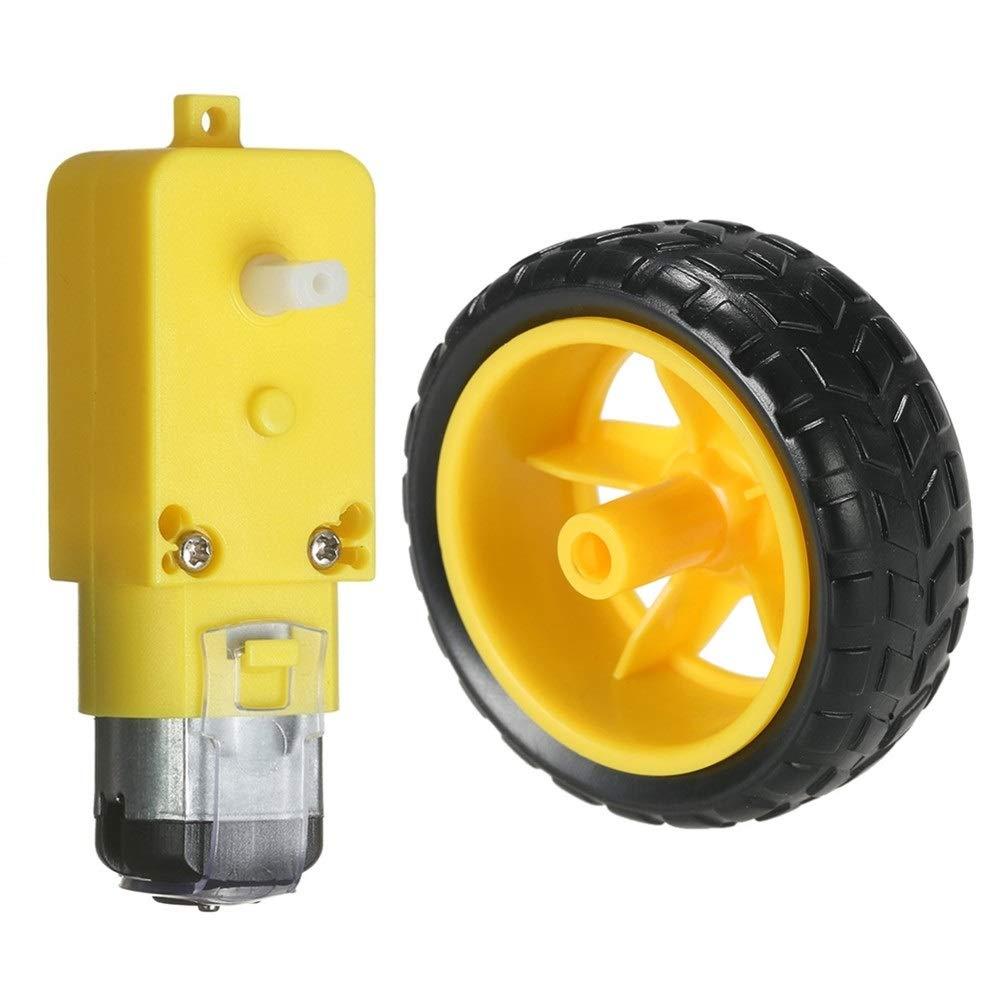 Yiqiane Accessori Auto Ruota motrice DC motoriduttore per Arduino DC 3V-6V Smart Car Progetto Fai da Te per Auto Automobile Veicolo a Motore Driver Size : Gear Motor