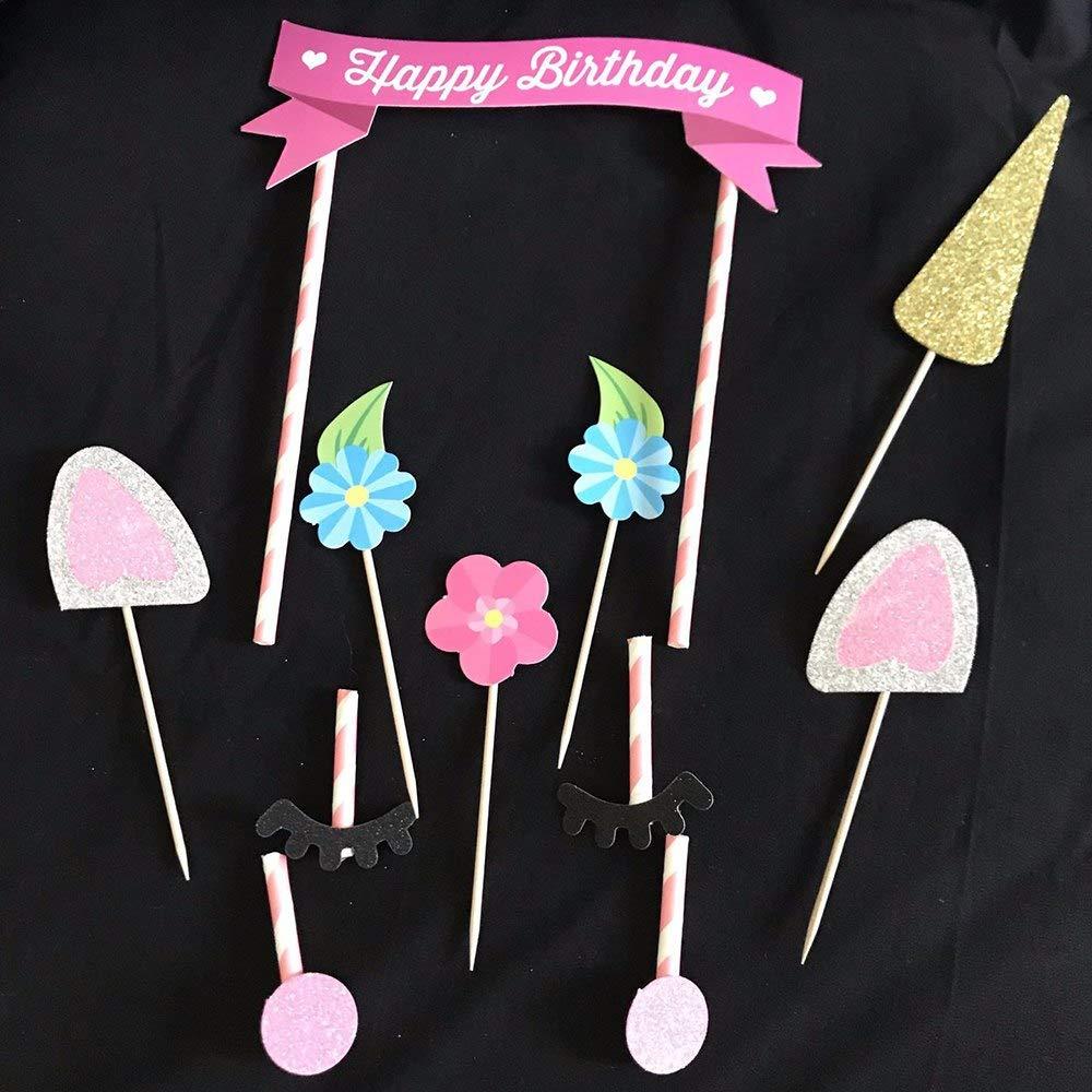 takestop Juego 10/Piezas Topper Toppers Unicornio Unicorn Tarta Cake Fiesta Cumplea/ños Decoraci/ón Glitter ni/ños