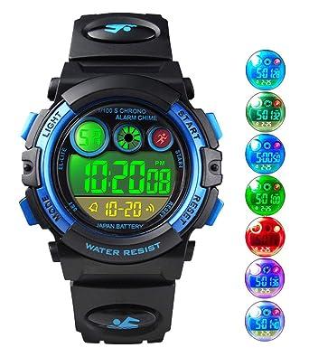 a2636ec2185fcc Montres Enfants garçons, Montre numérique Digitale 5 étanche  12 24H chronomètre EL