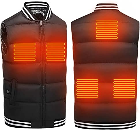 Battery Not Included Hiking Camping Electric Heated Vest USB Rechargeable Body Warmer 9 Heated Zones Thermal Heating Vest Heating Jacket Carbon Fiber for Winter Outdoor Activities Skiing