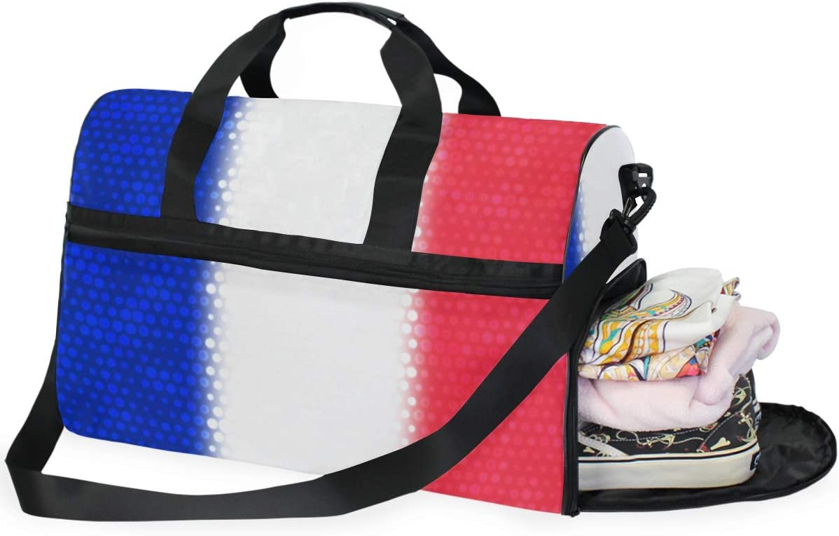 MALPLENA French National Flag Travel Duffel Bag Weekender Bag with Shoes Compartment for Men Women