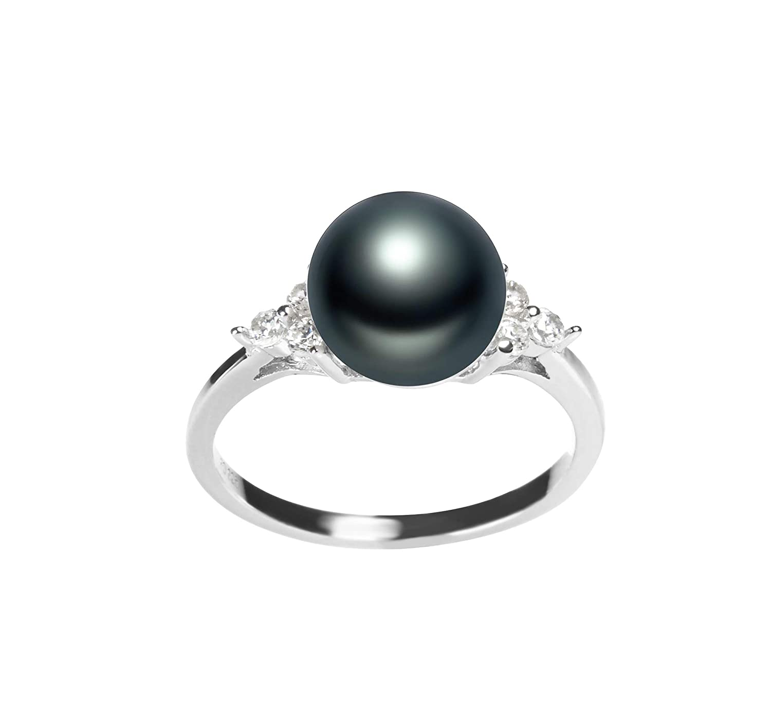 Dacey Black 8-9mm AAA Quality Freshwater 925 Sterling Silver Cultured Pearl Ring