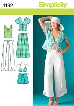 Simplicity Pattern 4192 Misses Wrap Pants in 2 Lengths or Shorts, Kimono Top, Bra
