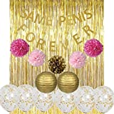 Party Decoration Kit,15 Pcs Same Penis Forever Banner,Tinsel Foil Fringe Curtains Pom Pom Flower Ball Paper Lantern with Gold Confetti Balloon for Bachelorette Party,Hen Party Wedding Favors Bride shower Decoration