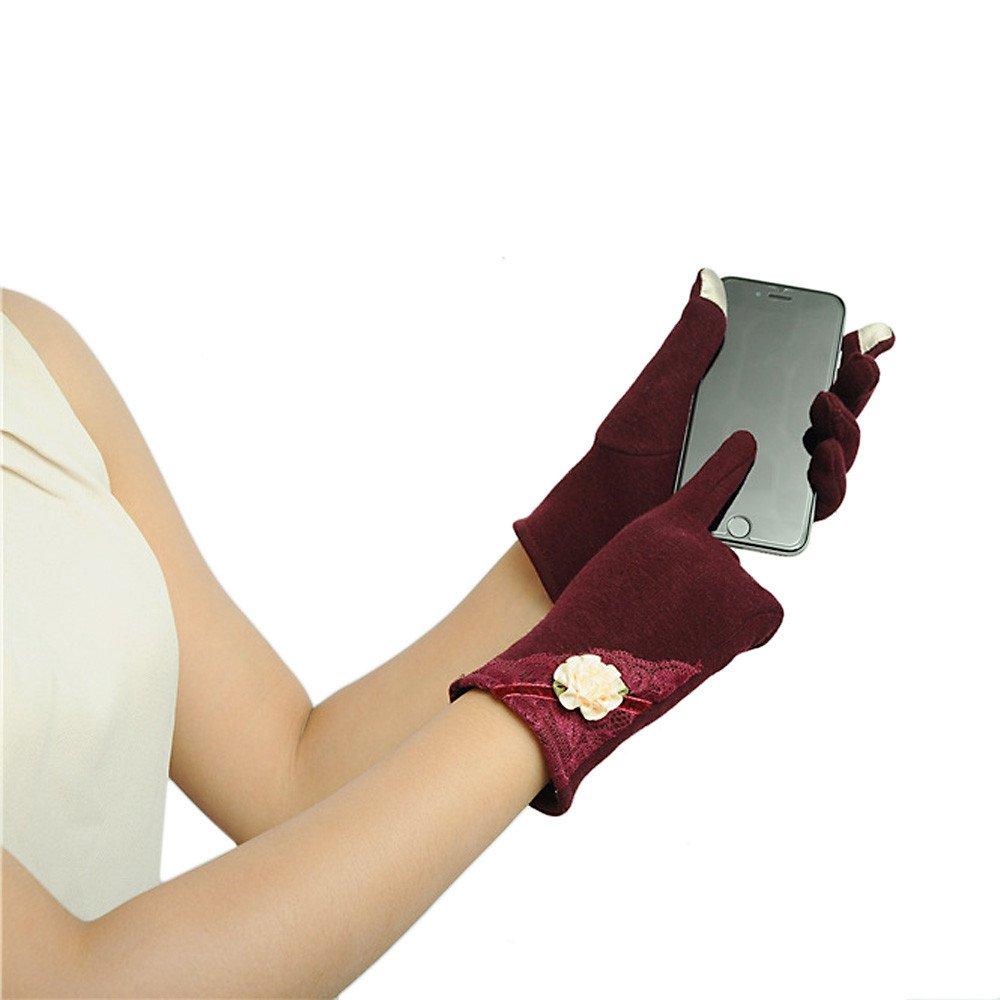 Gloves,NOMENI Womens Touch Screen Winter Warm Wrist Gloves Mittens (Red)