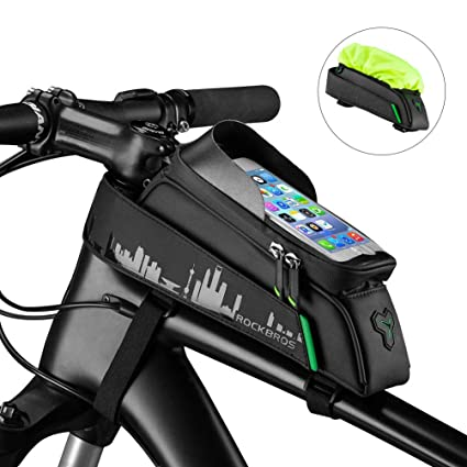 sports shoes fb930 8d38e ROCK BROS Bike Phone Bag Mount,Top Tube Bike Bag Fingerprint ID Compatible  with iPhone X XS Max 7 8 Plus Galaxy S9 Note7, Bicycle Frame Bag Large ...