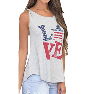 cf1657466510c ❤️LILICAT Femmes sans Manches Gilet Drapeau Américain À Manches Courtes  Chemisier Casual T Shirt Régulier