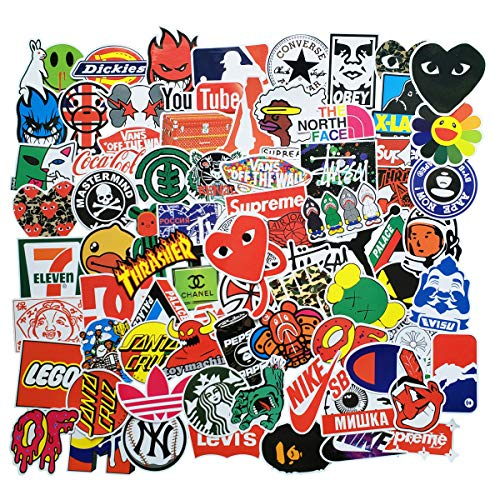 ZUIYI 100 Pcs Fashion Brand Stickers for Laptop Stickers Motorcycle Bicycle Skateboard Luggage Decal Graffiti Patches Stickers for [No-Duplicate Sticker Pack] (New - Pc 100%