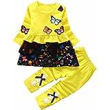 Babyausstattung Hirolan Kleinkind Strumpfhosen Mädchen Outfits Drucken Schmetterling T-Shirt Kinder Lange Ärmel Tops Bowknot Kleid Lange Hose Ausgefallene Babykleidung