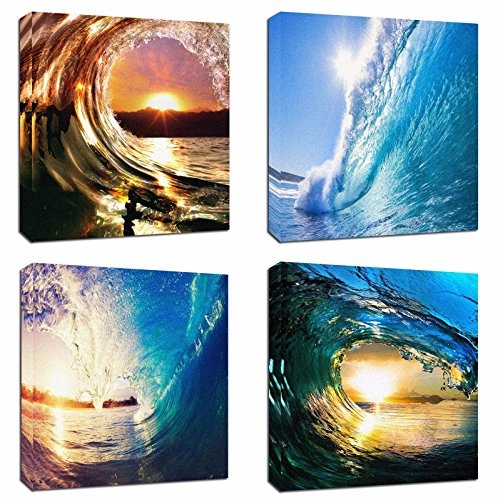 4Pcs 12x12 Canvas Wood Stretched Blue Ocean Wave Surfing Sea Sunset Motivational Theme Pink Frame Landscape Abstract Modern Art For Home Room Office Wall Print Decor 12x12