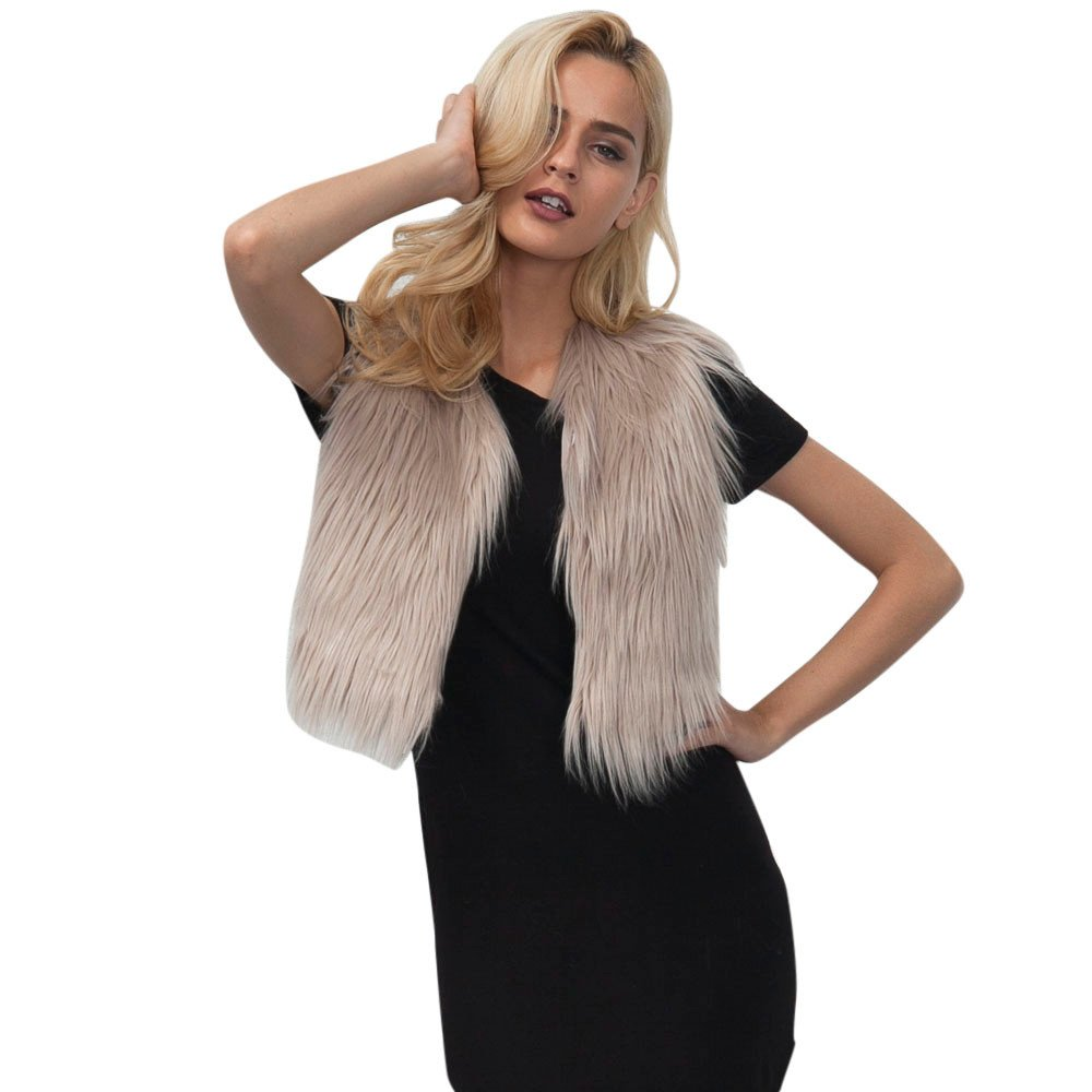 Youngh Womens Waistcoat Plus Size Solid Loose Sleeveless Faux Fur Fashion Winter Vest Coat Outerwear Cardigan Youngh Coat