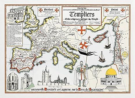 Amazon.com : Map Knight Templar : Garden & Outdoor on jerusalem during crusades map, first templar map, richard knight s treasure map, saladin crusades map, acre crusades map,