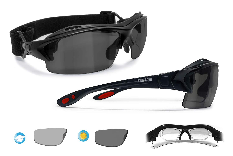 d157406f327 Bertoni Prescription Sport Polarized Sunglasses – Photochromic Polarized  Lenses - Sport Goggles with Optical Clip for Pescription Lenses -  Interchangeable ...