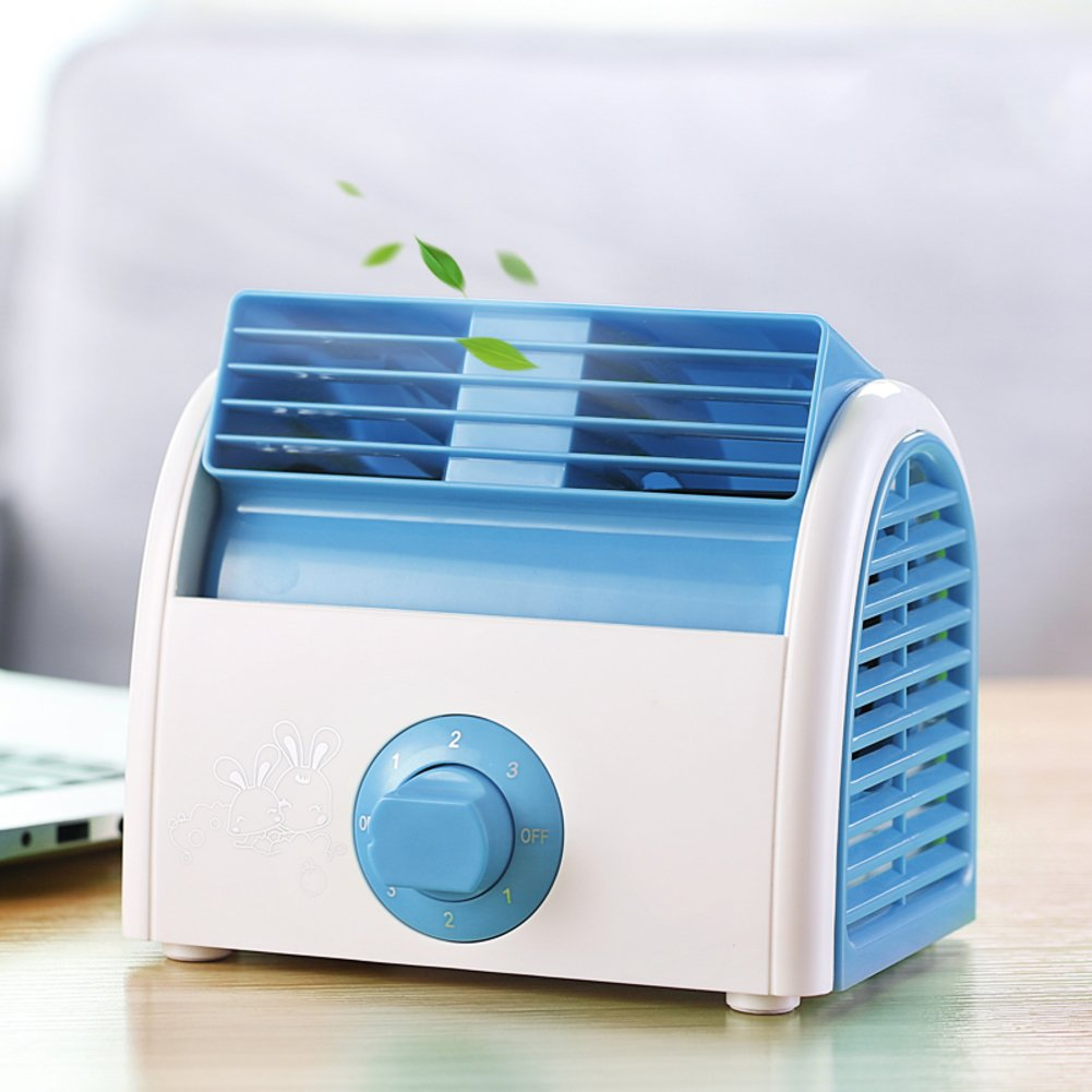 JiaQi Mini Air Cooler,Air Conditioning,Desktop Office Air Conditioner Cooling Fan Small Fan Usb-Blue 19x15x15cm(7x6x6inch)