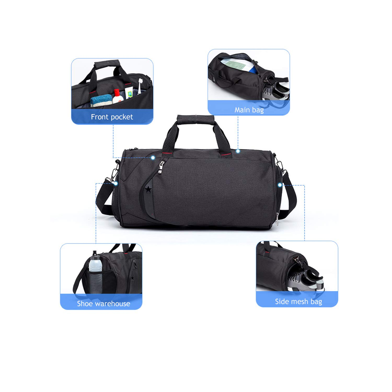 Nosterappou Men and Women Fashion Casual Dry and Wet Separation Fitness Sports Bag Large Capacity Travel Travel Diagonal Training Package Swimming Bag Independent Shoe Warehouse