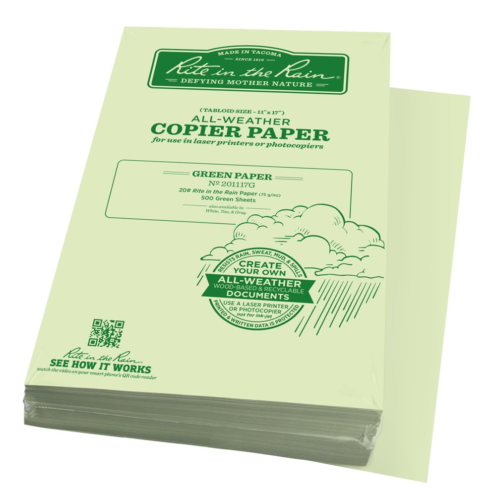 Rite in the Rain Weatherproof Laser Printer Paper, Tabloid Paper Size 11'' x 17'', 20# Green Colored Printer Paper,  500 Sheet Pack (No. 201117G)