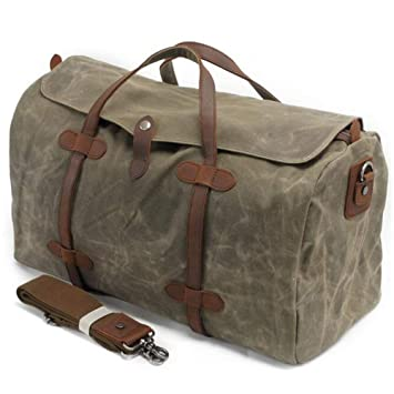 S-ZONE Waterproof Waxed Canvas Leather Trim Travel Tote Duffel Handbag  Weekend Bag (Army 8c6c3c0671e8c