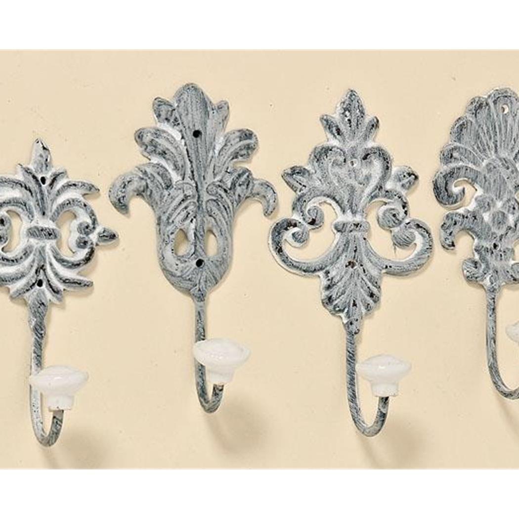 Unbekannt 4 Stück Wandhaken grau Gußeisen Shabby Chic Haken Nostalgie Hellgrau Metallhaken Garderobe Vintage Ornamente Barock Shabby Chic Garderobenhaken …