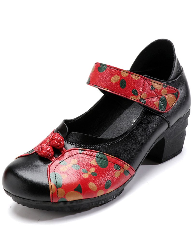 Women's Soft Real Leather Comfortable Round Toe Mid Heel Mary Jane Shoes B07CYS16LM 9 M US|Style 4 Black