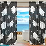 SEULIFE Window Sheer Curtain, Cute Animal Sheep Pattern Print Voile Curtain Drapes for Door Kitchen Living Room Bedroom 55x84 inches 2 Panels