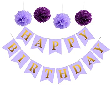 Amazon Com Birthday Decorations Purple And Gold Happy