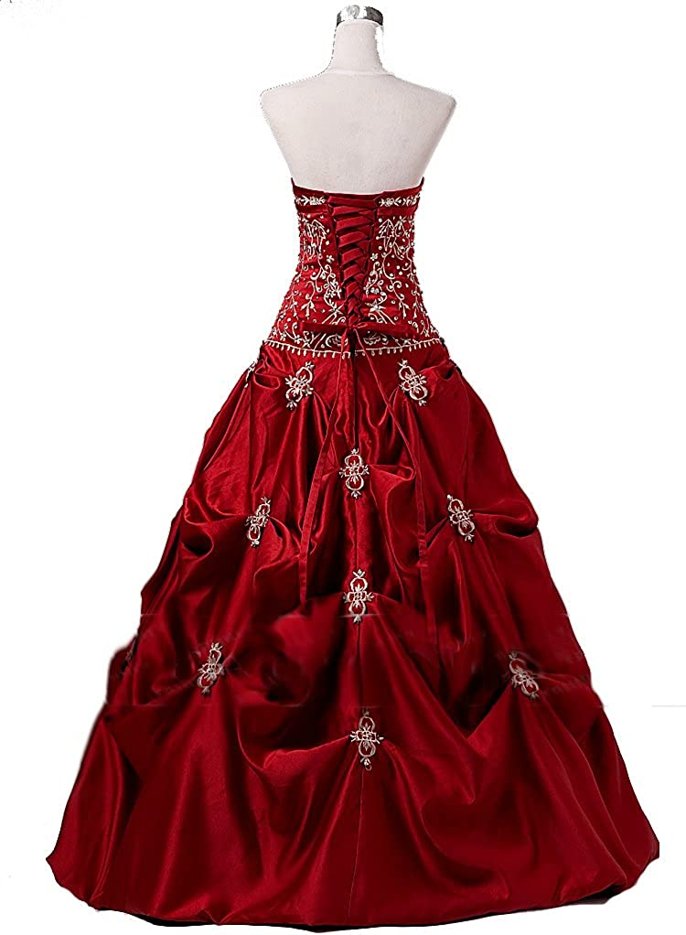 Amazon.com: Women\'s Formal Prom Dress , Burgundy: Clothing