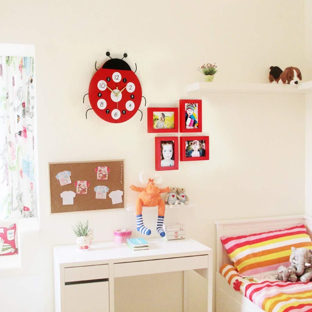 Unbekannt Fotorahmen Wand Kreative Kombination Fotowand Kinder Schlafzimmer Massivholzrahmen Wand Cartoon Persönlichkeit Wand (Color : RED, Size : 60CM*60CM)