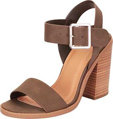 ae0a41946a6 Cambridge Select Women s Open Toe Slingback Chunky Stacked Block Heel Sandal