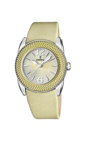 Festina F16592/3 - Reloj analógico de cuarzo para mujer con correa de piel,