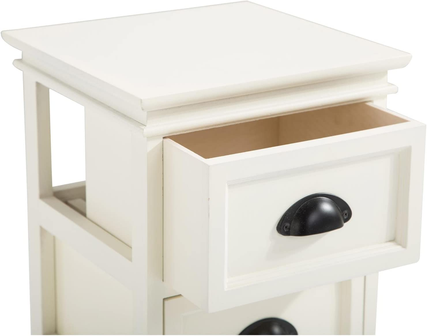 IDIMEX Chevet en Bois tiroirs de Style Shabby de Chic Classique de Table Nuit 3 LANDHAUS Table Paulownia Vintage Blanc 0mN8nw