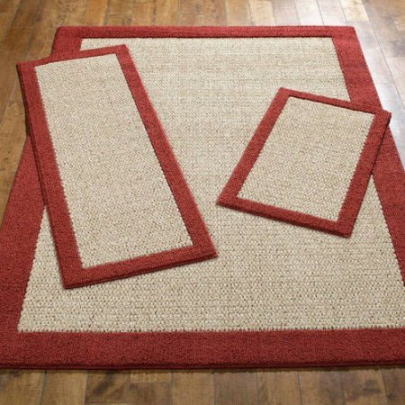 Faux Sisal Rug - Mainstays Faux Sisal 3-Piece Area Rug Set, Cranberry