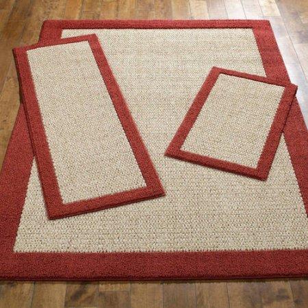 Mainstays Faux Sisal 3-Piece Area Rug Set, Cranberry