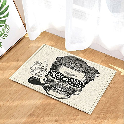 Review GoEoo Vintage Engraving Decor Hipster Skull Silhouette with Mustache Bath Rugs Non-Slip Doormat Floor Entryways Indoor Front Door Mat Kids Bath Mat 15.7×23.6in Bathroom Accessories