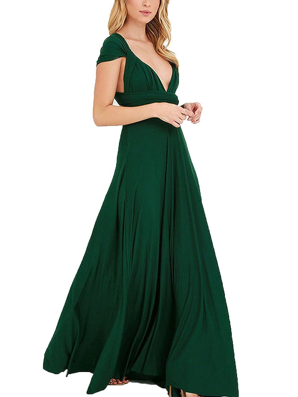 Dark Green Clothink Women's Congreenible Wrap Multi Way Party Long Maxi Dress