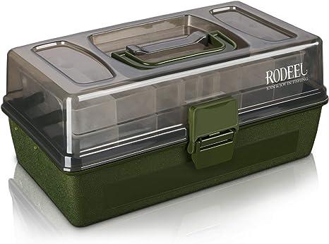 Rodeel 2 bandejas voladizas Caja de Aparejos de Pesca, Compartimentos Ajustables: Amazon.es: Deportes y aire libre