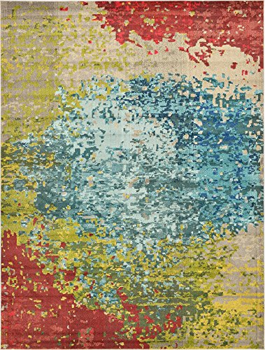 Unique Loom Estrella Collection Colorful Abstract Blue Area Rug (9